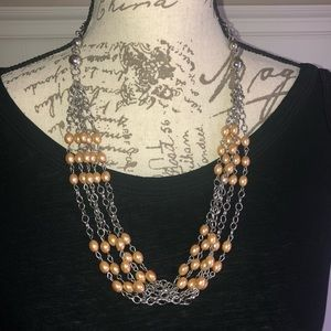 Necklace Silver and Gold Beaded